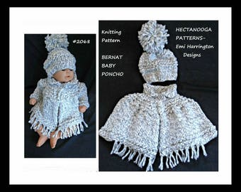 KNITTING PATTERN, baby poncho set, sweater and hat, knit baby set, new baby gift, Bernat Baby Poncho, #2068.  hectanooga patterns,