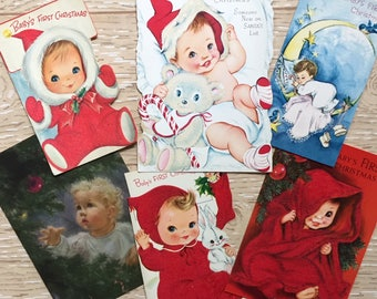 6 Vintage Christmas Baby Cards, Baby's First Christmas Cards, 1940s-1960s Baby Christmas Cards, Flocked Vintage Cards, Midcentury Christmas