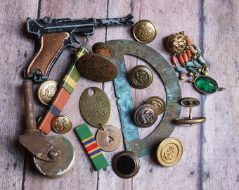 Vintage Assemblage Lot- Hardware Buttons Findings- Toy Gun- Militaria- Military Brass Tag- Found Object Lot