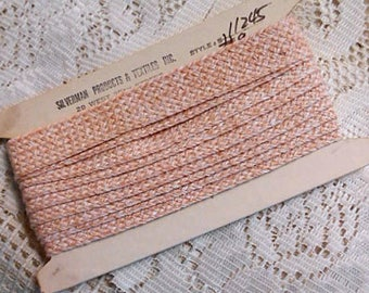"Soft Woven Pale CHAMPAGNE PINK Flat Braid Trim USA Vintage Cotton Sewing Craft Pillow Lampshade Clothing Embellish 1"" x 3.5 yd Passementerie"