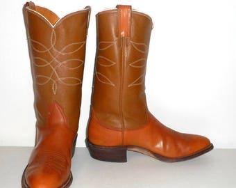 Nocona Cowboy Boots Mens Size 10 D Vintage Caramel Tan Leather Western Rockabilly