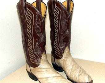 Vintage Brown and off white eel leather Tony Lama brand cowboy boots size 5.5 B