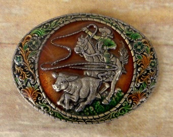 Cowboy Calf Roping Belt Buckle 1981 Indiana Metal Craft Brown Green Steer Ranch