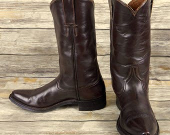 Vintage Cowboy Boots Brown Leather Mens 8.5 9 Country Western Rockabilly Shoes