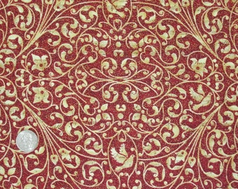 "Peace on Earth Cotton Fabric by Ro Gregg for Paintbrush Studio 45"" wide BTY Red Gold Scroll Christmas"