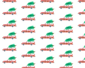 Christmas Cars Fabric - Christmas Vacation By Erinanne - Christmas Tree Cars Watercolor Holiday Cotton Fabric By The Yard With Spoonflower