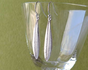 Olive Leaf Earrings - Real Olive Leaves, Pure Silver Earrings, Botanical Jewelry