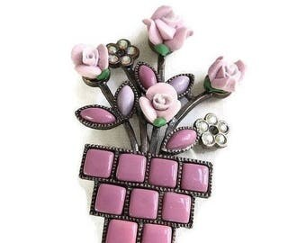 SALE Flower Pot Brooch Pink & White Molded Plastic Aurora Borealis Rhinestones Vintage
