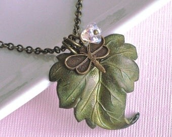 Patina Leaf Necklace - Dragonfly Necklace, Czech Flower, Leaf Jewelry, Botanical Jewelry, Nature Jewelry