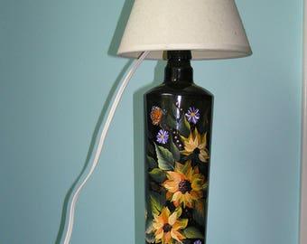 Sunflower Lighted Bottle Lamp