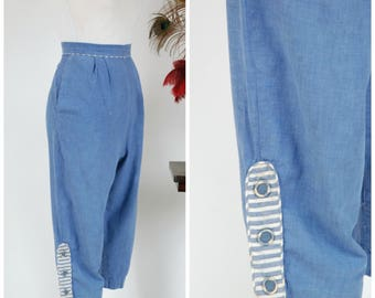 1950s Vintage Pants - Light Blue Cotton Chambray Clamdiggers with Striped Accents and Covered Buttons