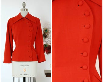 Vintage 1940s Jacket - Gorgeous Lipstick Red Wool Gabardine Tailored Jacket with Curving Asymmetric Closure