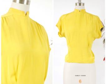 Vintage 1940s Blouse - Incredibly Vibrant Lemon Yellow Rayon 40s Top with Mandarin Collar