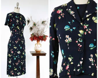 Vintage 1940s Dress Set - Gorgeous Floral Print Navy Blue Rayon 40s Dress with Matching Jacket