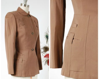 "Vintage 1940s Jacket - Dashing Cocoa Brown Gabardine 40s Suit Jacket with ""Locking"" Self-Fabric Details"