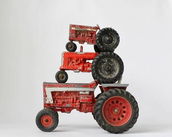 Red Tractors, Vintage Toy Tractors, Red Chippy Tractors, Vermont Tractors, Farmhouse Style, Farm Toys, Instant Collection, Urban Farmers