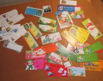 Vtg Lot of 50 Christmas Gift Tags and Labels / Holiday Tags / 1970s and newer