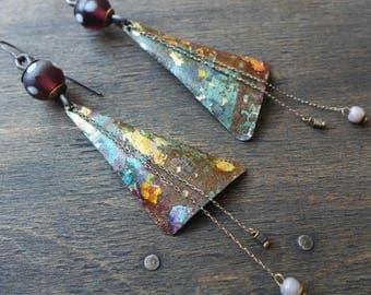 "Salvaged tin triangles, handamde artisan boho earrings by fancifuldevices- ""Pentimento"""