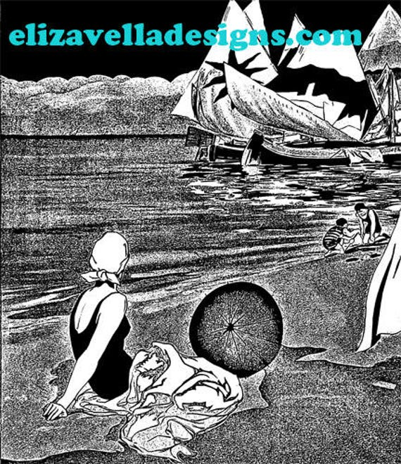 1920s family at the beach printable wall art india ink style digital download art graphics image home decor vacation