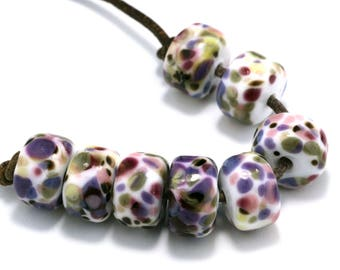 Faelyn Drops Handmade Lampwork Beads by Pink Beach Studios 8 count (1504)