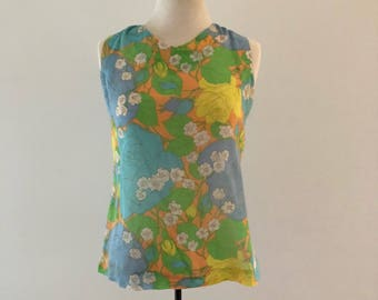 Vintage 1960s Top / 1960s Floral Blouse / Sheer Linen Blouse / Green Floral Top / Sleeveless Summer Top / 1960s Blouse / 60s Shirt