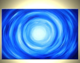 Original Abstract Painting, Abstract Blue, Original Modern Painting, By Dan Lafferty - 24 x 36 - FREE PAINTING OFFER