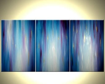 Abstract Blue Painting, Purple Painting, Gold Original Textured Art by Lafferty - 36x72 - Sale 22% Off