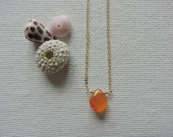 Simple orange carnelian briolette necklace - 14k gold filled chain - modern, minimal beach jewelry