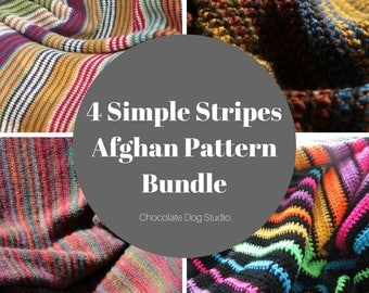 Beginner Crochet Blanket pattern bundle- 4 simple stripes afghan patterns