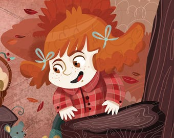 POSTER | Autumn in the woods, kids illustration poster, kidsroom print, nursery illustration with a girl and mushrooms
