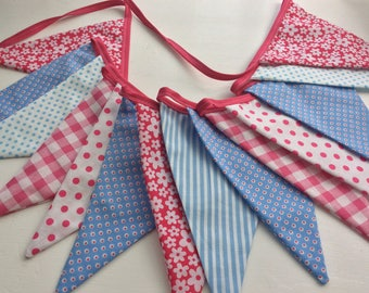 SALE Pink and Blue Bunting - 12 flags one off, bedroom, photo prop, shabby chic was 21 dollars