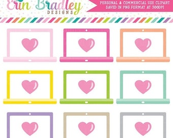 80% OFF SALE Laptop Clipart with Hearts Commercial Use Computer Graphics