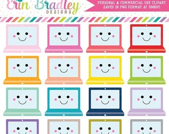 80% OFF SALE Kawaii Laptop Clipart Instant Download Computer Clip Art Graphics Commercial Use OK