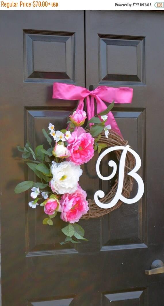 SUMMER WREATH SALE Monogram Peony Spring Wreath- Peony Wreath- Door Wreath- Monogram Wreath for Front Door Mother's Day Gift Pink Peonies- W