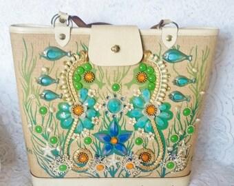 Enid Collins,  Vintage Handbag,Beautiful, featuring a Sea Garden II Motif, Gorgeous, Purse, Vintage Enid Collins