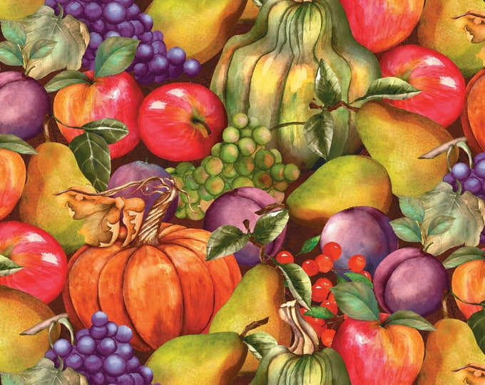 THANKSGIVING FABRIC, Thankful Harvest Multi Stacked Fruit Cotton Fabric 44-45 inches wide by Wilmington Prints