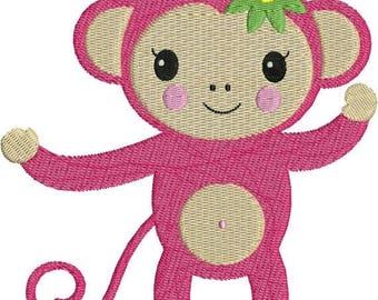 SALE 65% OFF Monkey Girl Pink Zoo Jungle Machine Embroidery Designs 4x4 & 5x7 Instant Download Sale