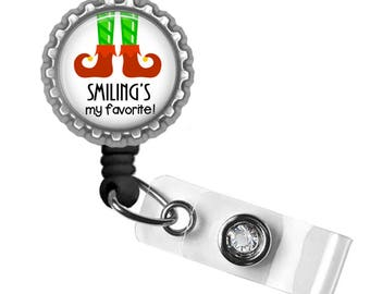 Elf, Smile, Badge Reel, ID Tag, Badge Holder, Holiday Gifts, Gifts for Nurses, Gifts for Student Nurses, Gifts for Teachers, Punny Gifts