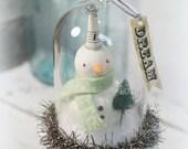 Christmas Decoration // Snowman // Folk Art // Snow Globe // Vintage Style Christmas // Antique Chistmas // Bottle Brush Tree //