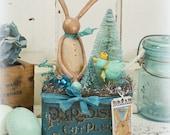 Rabbit // Easter Decor // Ornament // Vintage Style // Vintage Tin // Farmhouse // Bottle Brush Tree // Bluebird //Spring