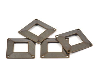Square Brass Connector, 12 Antique Brass Square Middle Hole Connectors with 4 Holes, (20x20mm) Pen 670 K114