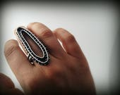 RESERVED FOR M, post industrial cocktail ring, sterling silver, metalsmithed, silver gypsy ring, ready to ship