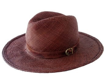 Brown Panama Straw Hat Spring Fashion Beach Sun Hat Spring Accessories Straw Fedora Hat Beach Hat Summer Hat Brown Hat Panama Fedora Hat