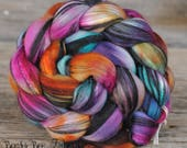 HIPPY DIPPY Hand Dyed Merino Mulberry Silk Wool Roving for Spinning, Nuno Felting Wool, Combed Top, Spinning Fiber