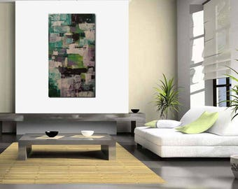 Original large abstract painting palette knife wall art deco by Elsisy 46x25 Free US shipping