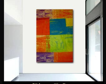 Extra large 60x45 original abstract painting on canvas by Elsisy  Turquoise, lime, lavender. yellow, red  Free US shipping