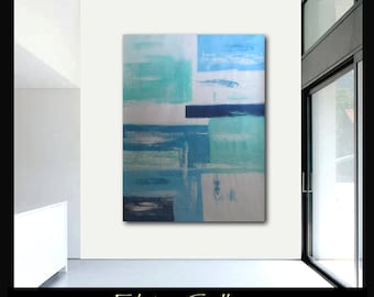 Extra large 60x45 original abstract painting on canvas by Elsisy  Turquoise, Navy blue, pale blue, seaside and white.  Free US shipping