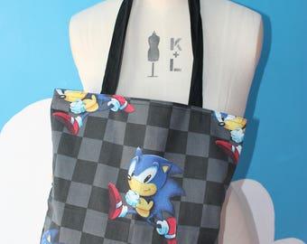 vintage fabric sonic the hedgehog tote bag