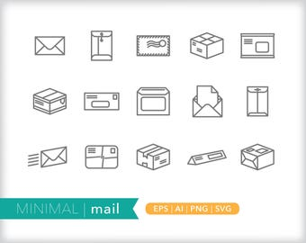 Minimal mail line icons | EPS AI PNG | Geometric Postal Clipart Design Elements Digital Download