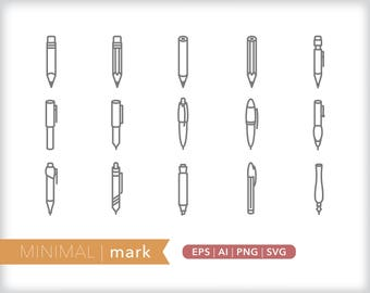 Minimal mark line icons | EPS AI PNG | Geometric Pen Pencil Clipart Design Elements Digital Download
